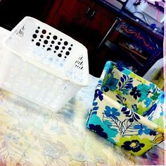 DIY Fabric Covered Bins..Dollar store bin into cute fabric organizer and no sewing :)- this is 1 of those things on pinterest that makes me think duh, y didnt I think of that!!
