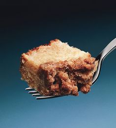 New York-Style Crumb Cake  In this East Coast-style breakfast treat, a tender sour cream coffee cake is topped with a thick layer of cinnamon-scented streusel.
