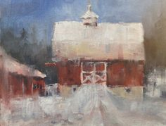 Winter Barn - Plein air painting from the winter of 2013
