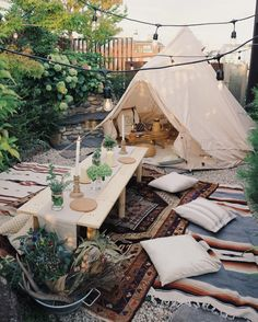 Bell tent with outdoor seating & dining area