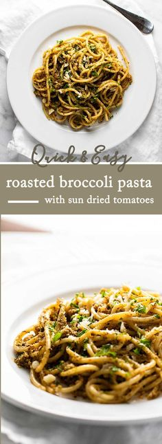 A super easy pasta dish made with roasted broccoli, sun dried tomatoes, almonds, and Parmesan cheese. Ready to go in 30 minutes! via @april7116