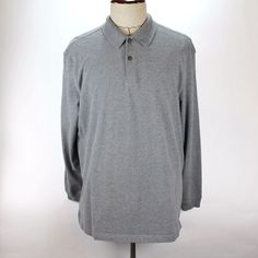 Orvis Polo Shirt Mens size Large Long Sleeve Gray 100% Cotton Elbow Patches EUC #Orvis #PoloRugby