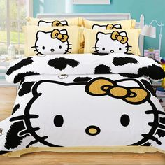 CASA 100% Cotton Brushed Kids bedding Milk Hello Kitty Duvet Cover Set & Fitted Sheet,4 Piece,Queen //Price: $125.97 & FREE Shipping //     #bedding sets