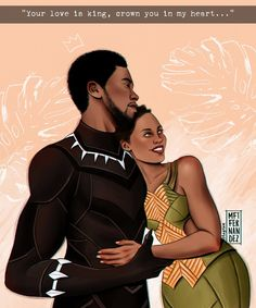 "💞😍💞 from Rei e rainha de T'challa & Nakia 👑 Espero ver mais esse casal nos próximos filmes 🐯 🧡 // Tecla SAP: ""Seu amor é rei, corôo você em meu coração"" (Sade - Your love is king) 🎶 Nakia Black Panther, Black Panther King, Black Panther Marvel, Marvel Art, Marvel Heroes, Diy Canvas Art, Disney Drawings, Marvel Cinematic Universe, Disney Art"