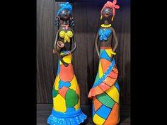 African Dolls, African American Dolls, Clay Wall Art, Clay Art, Cardboard Crafts, Paper Crafts, Plastic Bottle Art, Clay Dolls, Diy Home Crafts