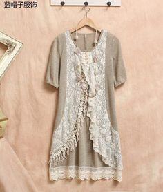 Lace Floral Vintage Knit Mori Girl Tunic Dress, Beige & Cream