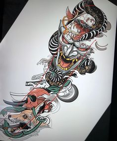 👹🐍🦊💀 Artwork and concept by: Mangiarocce Location: Naples, Italy Art… - Tatuering Irezumi Tattoos, Hannya Tattoo, Geisha Tattoos, Leg Tattoos, Tattoos For Guys, Arabic Tattoos, Dragon Tattoos, Tatoos, Japanese Mask Tattoo