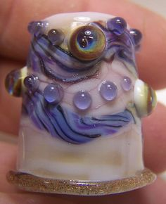 Handmade Lampwork Glass Thimble Purple Rose by ColleensCreations, $18.00