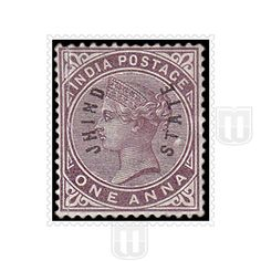 "Queen Victoria | Type	: Definitive |  Stamp Name: Queen Victoria |  Stamp Issue Date: 1885 |  Stamp Colour: brown-purple |  Face Value: 1 anna |  Stamp Printed At: Government of India Central Printing Press, Calcutta Printing Process: Typography |  Description: Overprinted with ""JHIND STATE"" in vertical oval shape 