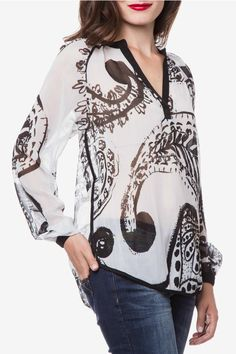 Designed in Spain by Desigual. Beautiful B+W sheer paisley print. Add a little tank underneath. Pair with black or ivory pants. Great for work or going out!    Sizes are European. Size 32 = US 1; Size 34 = US 2; Size 36 = US 4; Size 38 = US 6; Size 40 = US 8; Size 42 = US 10   Relax Blouse by DESIGUAL. Clothing - Tops - Blouses & Shirts Clothing - Tops - Long Sleeve Hawaii