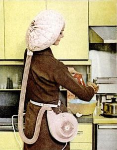 the walk-around bonnet hair dryer...general electric 1959...makes sense