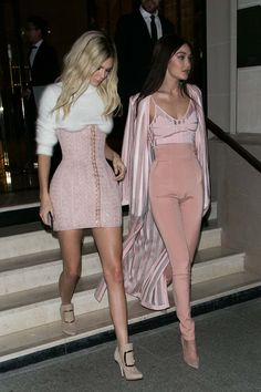 March 11, 2016 // Kendall Jenner and Gigi Hadid outfit is just gorgeous is every way, the pastel color gives a nice girly touch