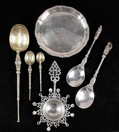 Gorgeous collection of hallmarked antique silver Tea accoutrements, with footed Irish tray, apostle spoons, tea strainer and ornate Celtic spoons...