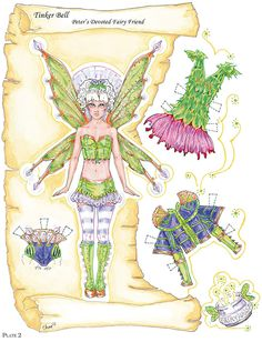 """paper doll- tinker bell plus her costumes & some accessories!  *from """"peter pan paper dolls"""" by dover"""