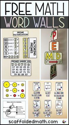 In this post are links to free math word walls including word walls for prime factors, GEMDAS, integer operations, parallel lines cut by a transversal and surface area and volume of 3-D shapes. The math word walls in this post work especially well for teaching math vocabulary to students who struggle with language. The word walls are interactive and the pieces can be moved during each unit or can be displayed on a bulletin board all at once to be a reference throughout the school year.