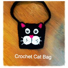 Kids Crochet Cat Bag Pattern with Back Button Strap.  $2.99 for pattern 7/14.