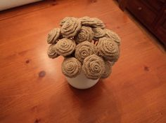 Set of 10 Burlap Flowers with Stems Burlap by theruffleddaisy, $25.00