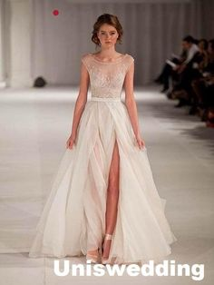 Cap Sleeves A Line Empire Waist Thigh Split Lace Tulle Formal Wedding Dress Custom Made Wedding Shop White Wedding Dresses