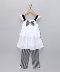 Take a look at this White Stripe Swing Top & Capri Pants - Toddler & Girls  by Kids Headquarters on #zulily today!