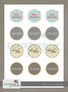 2 inch Round Thank You Printable Circles for gift tags, stickers, cupcake toppers, crafts, stationary, invitations. $3.00, via Etsy.