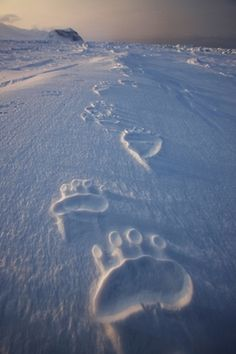 Forget foot prints in the sand. Let's do foot prints in the snow.