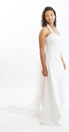 Elegant Halter Neck Wedding Dress With Detachable Train Available From Us