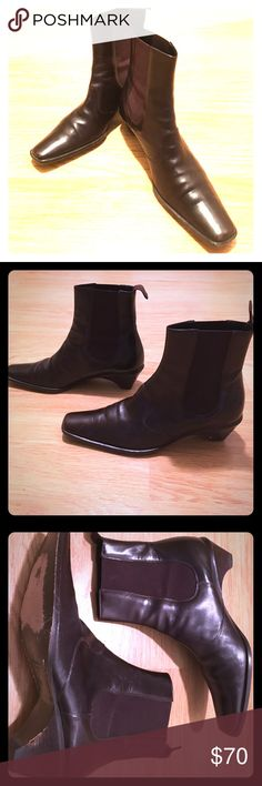 Giorgio Armani Leather pull-on ankle boots - 38.5 Giorgio Armani leather chocolate brown ankle boots. Made in Italy - 38.5 (runs narrow). Shoe definitely elongates your foot. Giorgio Armani Shoes Ankle Boots & Booties