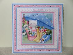 KITTEN IN BUCKET 7.5 Decoupage & Insert Kit - CUP962303_68 | Craftsuprint Pretty Cards, Cute Cards, Christmas Kiss, Easel Cards, Small Cards, Printable Crafts, Card Kit, Happy Mothers Day, Mini