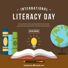 Retro literacy day background with books Free Vector