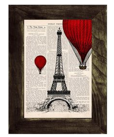 Vintage Book Print - Eiffel Tower Balloon Ride Print on Vintage Book art $8