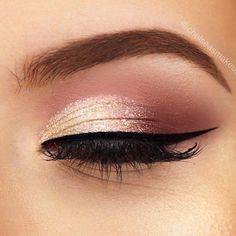 Rose Gold Makeup Looks, Gold Eye Makeup, Simple Eye Makeup, Pink Makeup, Smokey Eye Makeup, Makeup For Brown Eyes, Eyeshadow Makeup, Eyeshadow Palette, Easy Makeup