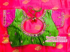 Mirror Work Saree Blouse, Mirror Work Blouse Design, Bead Embroidery Patterns, Beaded Embroidery, Embroidery Designs, Half Saree Lehenga, Saree Dress, Sarees, New Blouse Designs