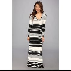 SALEBCBGMAXAZRIA Calypso Striped Dress Side-split hem. Long-sleeve maxi dress with plunging V-neck and variegated stripes. Only worn once BCBGMaxAzria Dresses Maxi