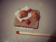 3 type of croissant cutting board - polymer clay realistic food