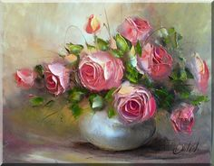 Flower Painting Canvas, Oil Painting Flowers, Flower Canvas, Abstract Flowers, Flower Art, Paintings I Love, Beautiful Paintings, Rose Paintings, Canvas Pictures