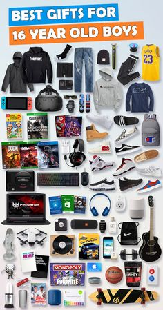 See over 675 gifts for 16 year old boys for Birthdays and Christmas. Tons of ide. See over 675 gifts for 16 year old boys for Birthdays and Christmas. Tons of ideas - Electronic, games and car gift ideas. Here are the best gift ideas for 16 year old Birthday Presents For Teens, Teen Presents, Best Birthday Gifts, Best Gifts For Boys, Cool Gifts For Teens, Gifts For Dad, Birthday Games, Teen Birthday, Birthday Ideas