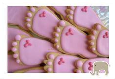 baby shower ideas for girls | These sugar cookies are in the shape of a tiny foot. You can buy these ...