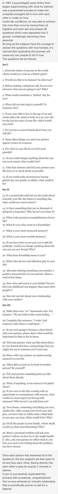 Questions to ask when getting to know someone. Great conversation starters.
