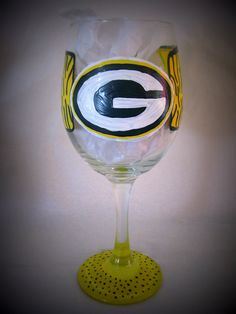 Green Bay Packers Inspired 20 oz Hand Painted Wine Glass. $15.00, via Etsy.