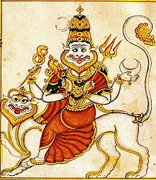 Atharvana Bhadrakali, identified in the Atharvaveda with Kali/ Nikumbala  Prathyangira is a fusion of Vishnu, Durga, Kali, and Narasimha.This combination of lion and human forms represents the balance of good and evil.