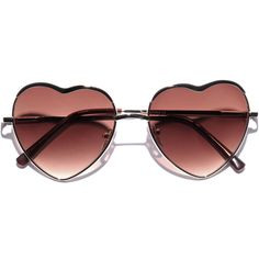 'Heart of Glass' Metal Frame Sunglasses ($20) ❤ liked on Polyvore featuring accessories, eyewear, sunglasses, glasses, fillers, metal glasses, heart shaped glasses, heart-shaped sunglasses, glass sunglasses and glass glasses