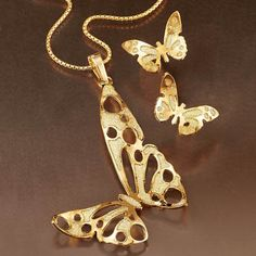 """Shop But…""""> Wild Things! Butterfly Earrings and Necklace: Item no. Vintage Diamond Wedding Bands, Gold Necklace, Pendant Necklace, Butterfly Earrings, Animal Jewelry, Wild Things, Gemstones, Jewels, Sterling Silver"""