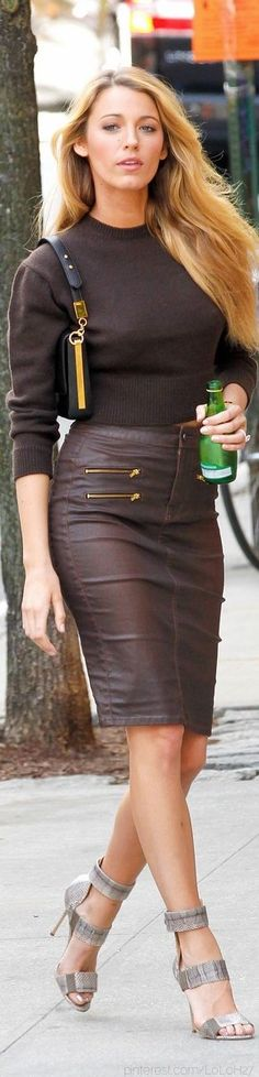 Blake Lively... well done on the spring knits... knit sweater/ leather skirt/ sandal