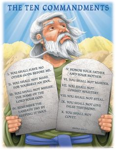 The Ten Commandments Sunday school chart.