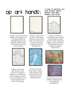 Op Art Hands Illusion Kunst, Illusion Art, Art Sub Plans, Art Lesson Plans, Middle School Art, Art School, Op Art Lessons, Hand Kunst, Classe D'art