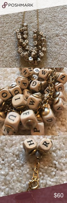"""Lenora Dame Necklace from Anthropologie Lenora Dame classic alphabet cluster necklace. Gold and cream/Black. Vintage inspired wooden letter beads. 16"""" with 3"""" extension.  Everyone will compliment you on this! Anthropologie Jewelry Necklaces"""