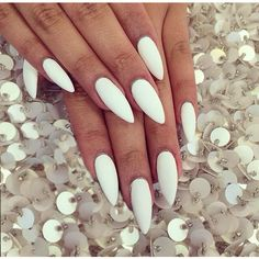24 Press On Stiletto Nails White Matt or Glossy ($23) ❤ liked on Polyvore featuring beauty products, nail care, nail treatments, nails, makeup and beauty