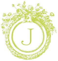 Monogram J - Make your own, FREE, customize colors too! http://www.weddingchicks.com/freebies/custom-monograms/mini-antique-monogram/