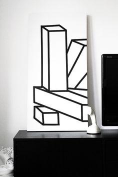 Via Smäm | DIY Geometric Art with Canvas + Washi Tape.