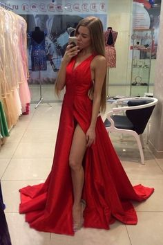 2020 Red V Neck Evening Dresses A Line Sweep Train With Slit PCP71C3T, This dress could be custom made, there are no extra cost to do custom size and color Split Prom Dresses, Pink Prom Dresses, Prom Dresses Online, Cheap Prom Dresses, A Line Evening Dress, Mermaid Evening Dresses, Affordable Prom Dresses, Elegant Prom Dresses, Red Satin Prom Dress